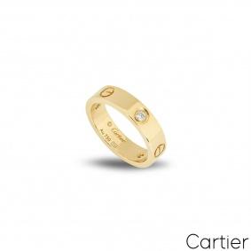 Cartier Yellow Gold Half Diamond Love Ring Size 49 B4032400